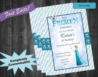 Frozen Themed Birthday Invite