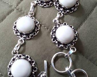 White Jade Bracelet - 8.5 inches!