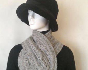 Vintage Mexx Grey Knitted Winter, Scarf Elegant Knitted Winter Scarf