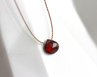 Tiny Garnet Necklace, Silk Cord, Gold Filled, Blood Red, January Birthstone