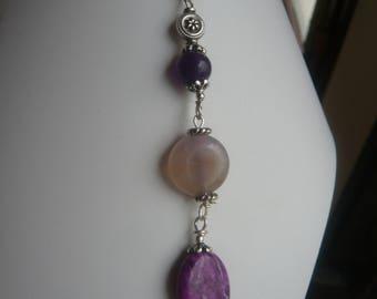 Pendant necklace * pleasure * Amethyst, Sugilite *.