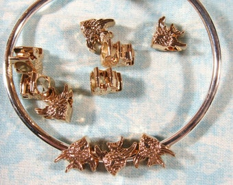 10 Gold Plated Fish Euro Style Charm Beads (B492b)
