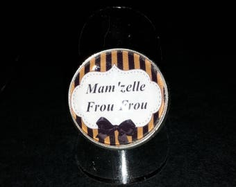 cabochon glass Mam' Missy Frou Frou, Brown, white and black
