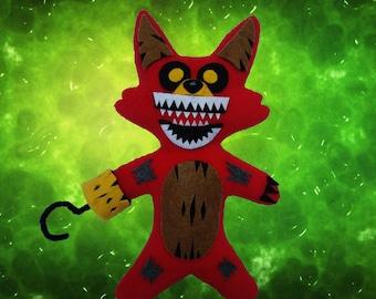 """Fnaf ~Handmade Plush~Twisted Foxy / Five Nights at Freddys 11"""" inch"""