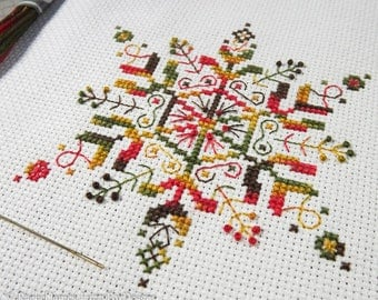 Variegated Snowflake Cross Stitch Pattern PDF | Coloris ThreadworX Hand-Dyed Floss