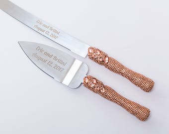 rose gold wedding cake knife set personalized wedding glasses wedding serving by 19289