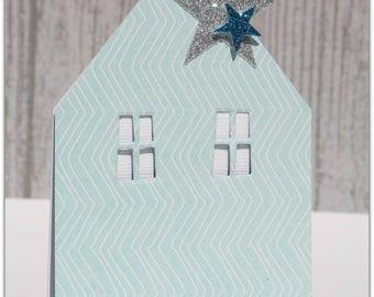 Cottage blue birth announcement