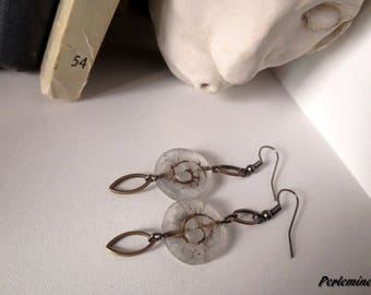 Bohemian earrings, imitation ammonite