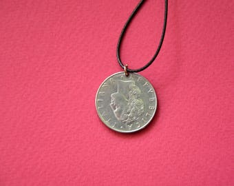 Italy L50 Lira 1977. Real Coin Pendant. REPVBLICA. ITALIANA  Сoin jewelry. Mens Necklace, Womens Necklace, Birth Year 1977