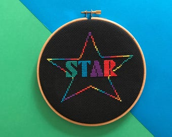 Easy cross stitch pattern - beginners xstitch chart - modern counted cross stitch pdf plan - rainbow star pattern - cross stitch download
