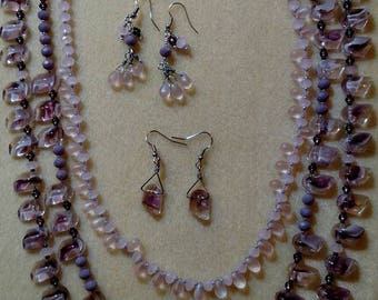 Purple, pink and lavendar triple strand necklace