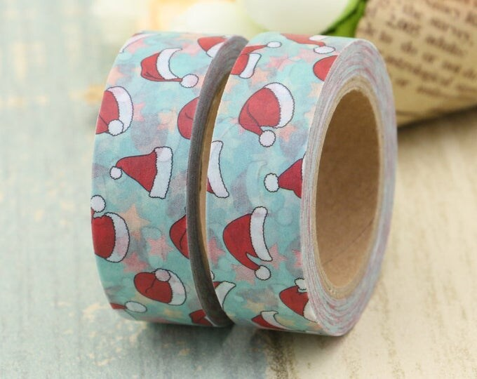 Washi Tape - Christmas Washi Tape - Santa Hat washi Tape - Paper Tape - Planner Washi Tape - Washi - Decorative Tape - Deco Paper Tape