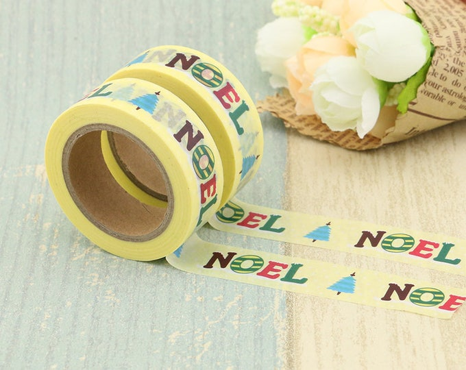 Washi Tape - Christmas Washi Tape - Yellow Noel Washi Tape - Paper Tape - Planner Washi Tape - Washi - Decorative Tape - Deco Paper Tape