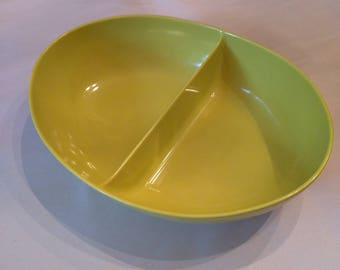 Vintage melamine divided serving bowl