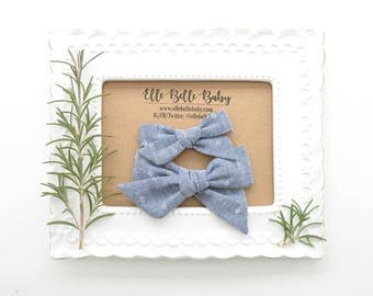 Denim Blue Chambray Schoolgirl Hair Bow - Hand-tied hairbow-Evy bow -Cotton Baby Headband - Newborn Hairbow - Toddler Hair Clip