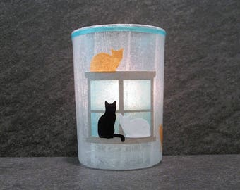 Cats in the Window Large Votive Candle Holder with Candle
