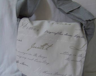 Tote bag gray writing