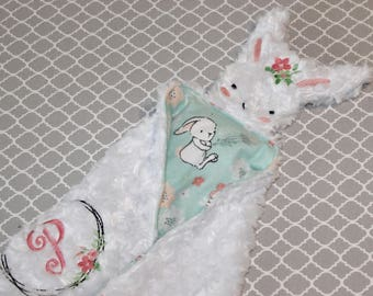 Bunny Lovey, Easter Bunny Lovey,  Lovey Blanket, Baby Lovey, Baby Blanket, Personalization Available