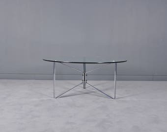 Round Glass Coffee Table,1970s