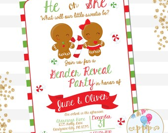Gingerbread Gender Reveal Invitation, Christmas Gender Reveals