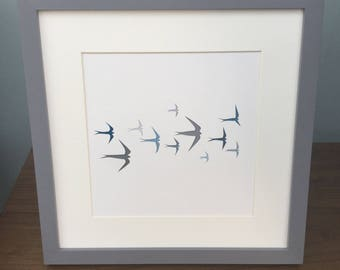 Swallows Birds Wall Art Unique Bespoke Wedding Gift Birthday Present