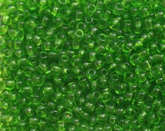 Green 2 mm seed beads / 9 grams