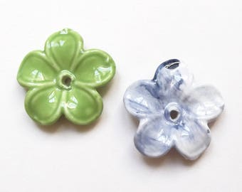 2 large flowers 40 mm Green and Blue ceramic beads
