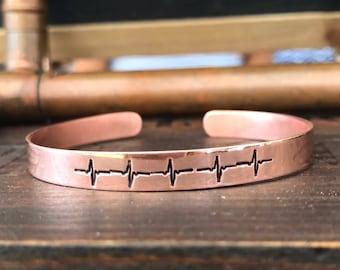 Copper Hand-Stamped Cuff, Personalized Copper Bracelet, Custom Hand-Stamped Bracelet, Copper Bracelet