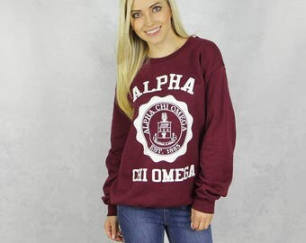 Alpha Chi Omega Harvard Design Sweatshirt in Maroon