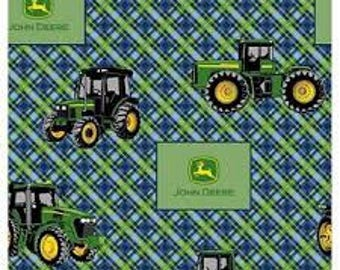 """John Deere tractors on plaid fabric, By the Half Yard, 44"""" wide, cotton"""