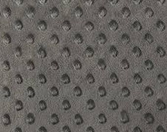 "Minky Dot fabric by the half yard, Charcoal, 60"" wide, lightweight, soft, Softee Dot, for weighted blankets, minky bubble, minky dimple"