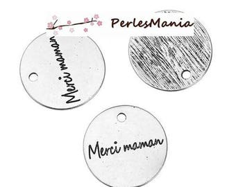 2 pendants MESSAGE on medal thanks MOM 20 mm (S1183035) ANTIQUE silver