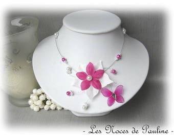 Necklace wedding fuchsia and White Butterfly silk Esther
