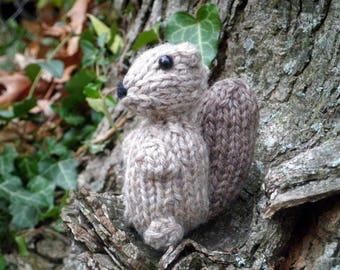 Hand Knit Squirrel Toy - Plush Wool Yarn Woodland Gray Squirrel - Forest Animal Holiday Housewarming Birthday Kids Stuffed Knitting Gift