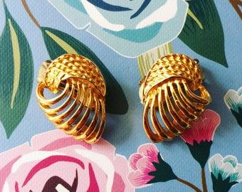 Gold Vintage Inspired Clip On Earrings
