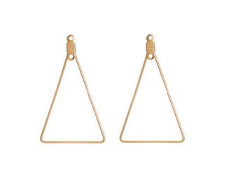 Set of 2 gold tone brass triangle shape