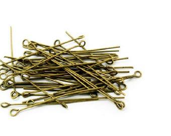 set of 100 PCs round head pin 45 mm metal color bronze