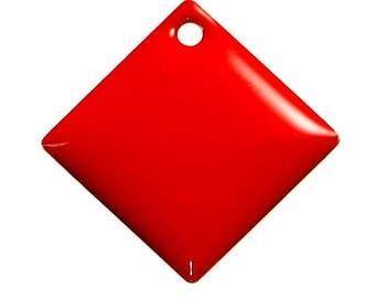 Set of 2 sequin red Argyle copper enameled 24 mm x 24 mm