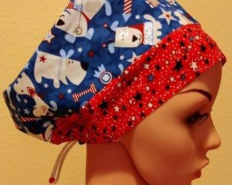Women's Surgical Cap, Scrub Hat, Chemo Cap, Patriotic Dogs