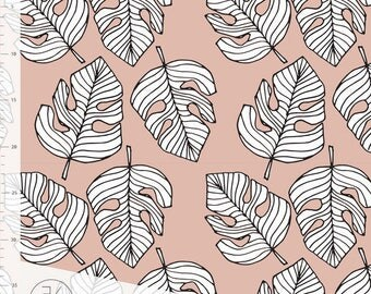 Monstera in Pink by Elvelyckan Design - Organic Jersey Knit Fabric