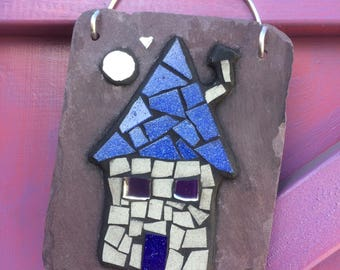 Unique little house mosaic hanging wall art on slate- new home, wedding and garden gift