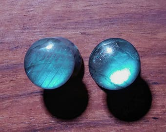 Pair of 0g (8mm) Labradorite Stone Plugs AAA Grade