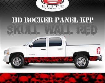 """Skull Wall Red Camo Rocker Panel Graphic Decal Wrap Truck SUV - 12"""" x 24FT"""