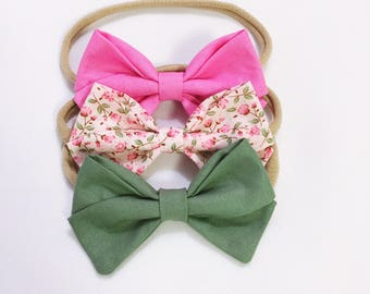 Botanical garden bow headband trio set