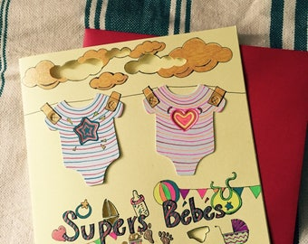 hand made greeting card: Super babies