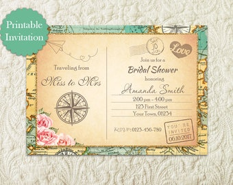 Vintage Travel Theme Bridal Shower Invitation, Traveling From Miss To Mrs Invitation, Around The World Map Globe Bridal Shower Invitation