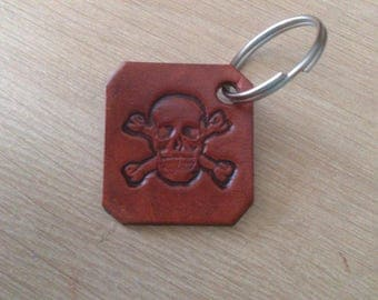 Keychain leather natural skull