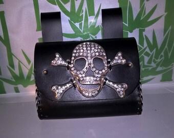 skull leather purse