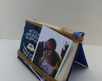 Photo frame, keepsake display, Neutral books creatively wrapped in twine, interior designer inspired memory easle, wedding centerpiece, gift