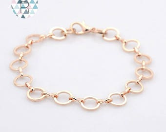 Pink bracelet gold plated brass with lobster clasps